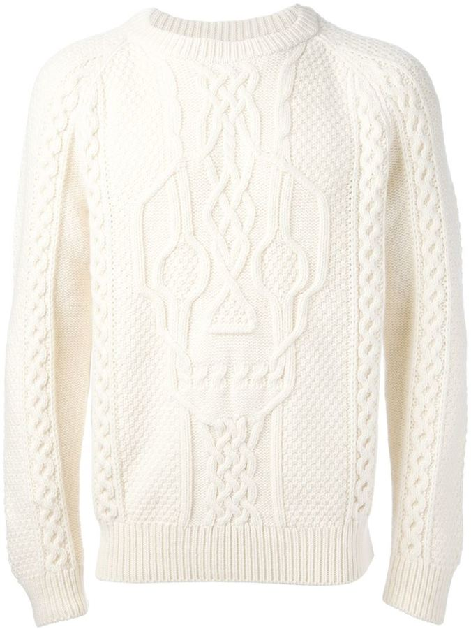 Alexander McQueen Skull Cable Knit Sweater | Where to buy & how to ...