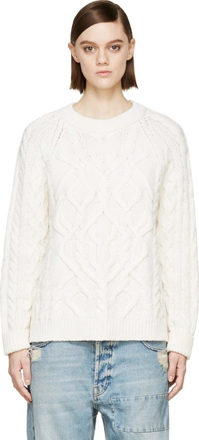 MCQ Alexander Ueen White Aran Wool Cashmere Cable Knit Sweater ...
