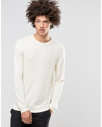 Asos Cable Sweater In Merino Wool Mix