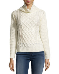 Neiman Marcus Cable Knit Pullover Sweater Off White