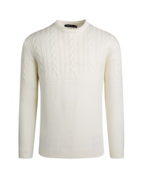 Bugatchi Cable Knit Virgin Wool Crewneck Sweater
