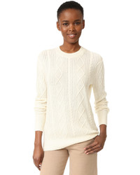 Cashmere boyfriend cable crew sweater medium 1211056