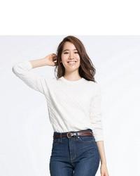 Uniqlo Cotton Cashmere Cable Knit Sweater