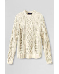 Lands' End Drifter Aran Cable Crewneck Tree Root Tattersall