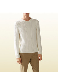 Gucci Wool Viscose Cable Knit Sweater