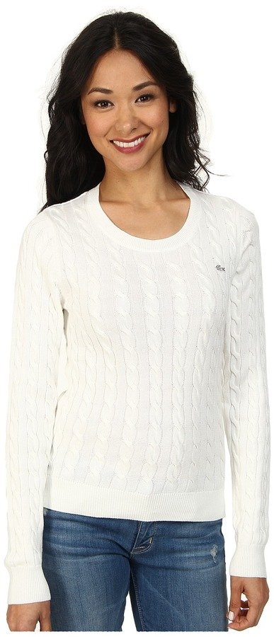 Lacoste Long Sleeve Cotton Cable Knit Sweater | Where to buy & how ...