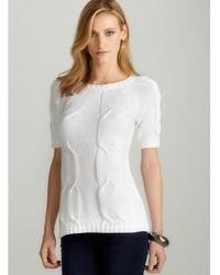 Joan Vass New York Cabled Pullover In White