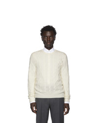 Ralph Lauren Purple Label Off White Cashmere Cable Knit Sweater