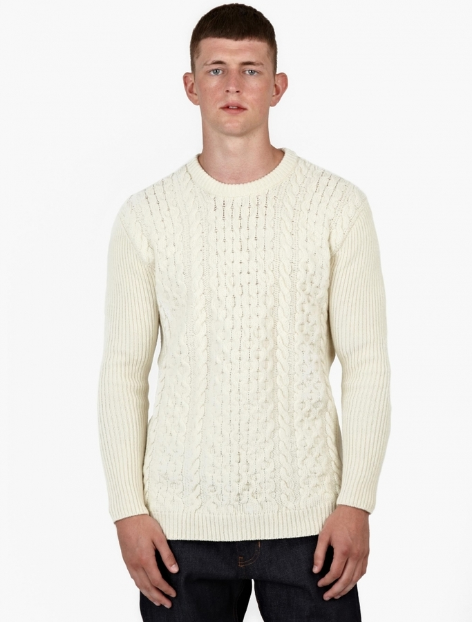 Ami Off White Merino Cable Knit Sweater | Where to buy & how to wear