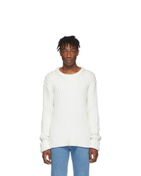 Maison Margiela Off White Ribbed Sweater