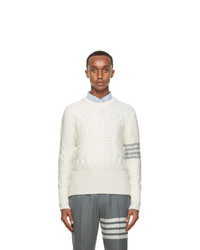 Thom Browne Off White Wool Aran Cable 4 Bar Sweater