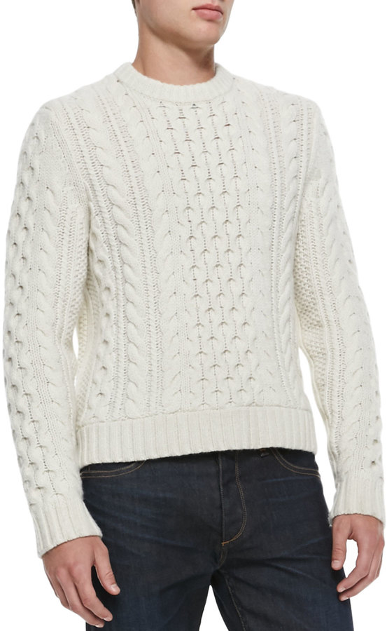 Rag And Bone Rag Bone Trevor Cable Knit Sweater White Where To Buy