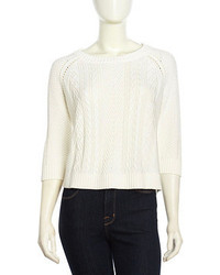 Neiman Marcus Three Quarter Sleeve Cable Zip Sweater White