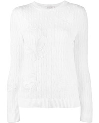 Valentino Floral Applique Cable Knit Jumper