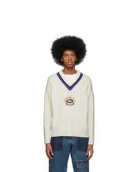 Burberry White Bedworth V Neck Sweater