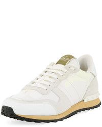Valentino Camo Leather Sneaker White
