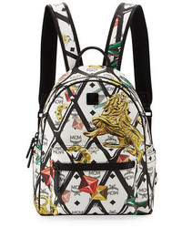 MCM Small Logo Embossed Canvas Backpack