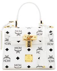 MCM Heritage Mini Satchel Bag White
