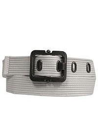 Luxury divas white heavy web canvas belt wpewter buckle medium 50137