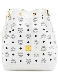 MCM Small Heritage Coated Canvas Bucket Bag White