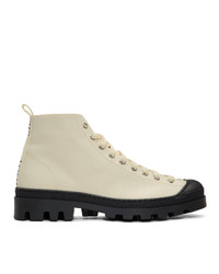 Loewe Off White And Black Canvas Lace Up Boots
