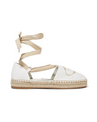 Prada Embroidered Canvas Espadrilles
