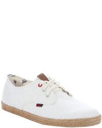 Ben Sherman Off White Canvas Jenson Lace Up Espadrilles Sneakers