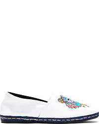 White canvas embroidered tiger spoon espadrilles medium 51344