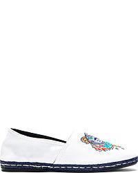 White canvas embroidered tiger spoon espadrilles medium 51344