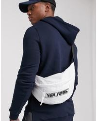 ASOS DESIGN Large Cross Body Bum Bag In White With Solaris Print