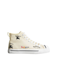 Burberry Archive Logo Cotton High Top Sneakers