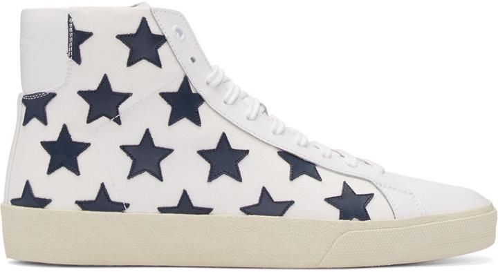 d8e4fea65a8 Saint Laurent White Stars Court Classic High Top Sneakers, $695 ...