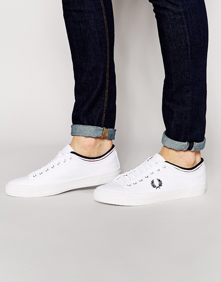 Fred Perry Kendrick Canvas Tipped Cuff Sneakers in Swrw7Z