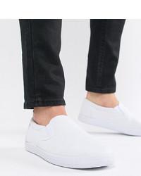 ASOS DESIGN Wide Fit Slip On Plimsolls In White Canvas