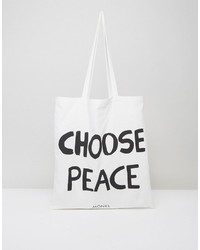 Monki Choose Peace Canvas Tote Bag