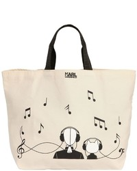 Karl Lagerfeld Karl Canvas Music Canvas Tote Bag