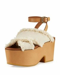 Adele frayed canvas platform clog sandal latte medium 1149468