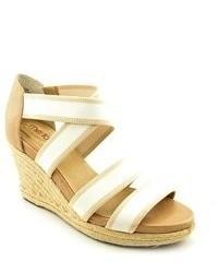 Me Too Joni15 White Fabric Wedge Sandals Shoes