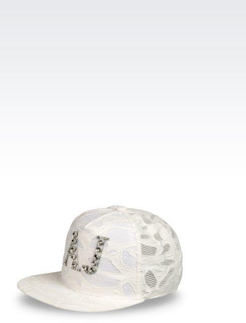 876cd478b8e01 ... White Caps Armani Jeans Lace Baseball Cap ...
