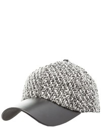 Charlotte Russe Tweed Faux Leather Baseball Hat