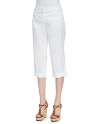 Eileen Fisher Cuffed Twill Capri Pants White Petite