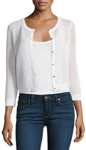 Milly 34 Sleeve Button Front Mesh Cardigan White | Where to buy ...