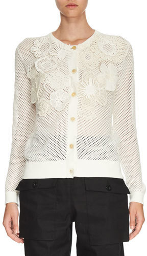 Chloé Chloe Crochet Flower Perforated Cardigan White | Where to ...