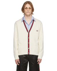 Gucci Off White Cotton Web Cardigan