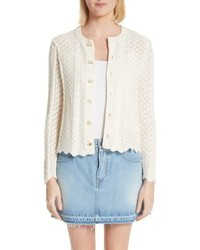 Marc Jacobs Scallop Edge Cashmere Wool Blend Cardigan