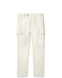 Thom Sweeney Slim Fit Linen And Cotton Blend Cargo Trousers
