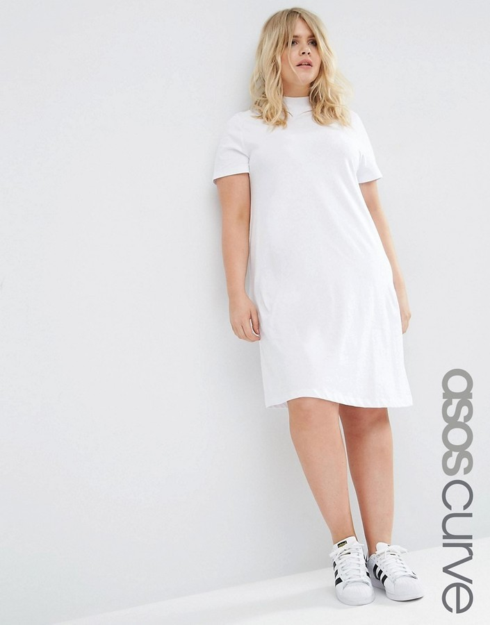 1fa45086390 ... Asos Curve Curve T Shirt Dress With High Neck ...