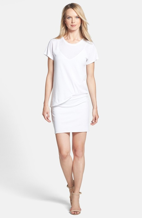 a01b721ba3 $160, Theory Toasta Layer Detail Cotton T Shirt Dress