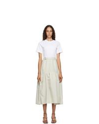 3.1 Phillip Lim White And Beige Shirred T Shirt Dress