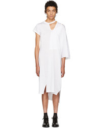 Facetasm White Asymmetric Mantle T Shirt Dress